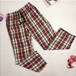 Victoria's Secret red check plaid pajamas pants XS